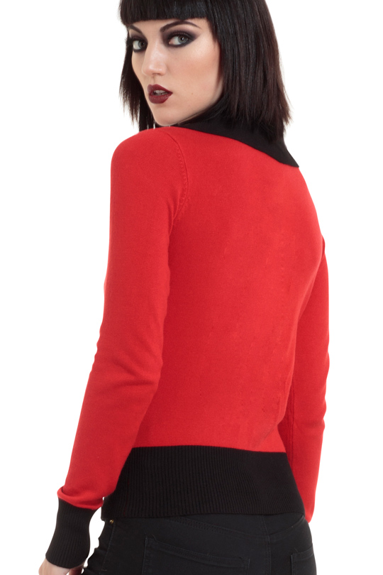 Polkaskulls Red Cardigan