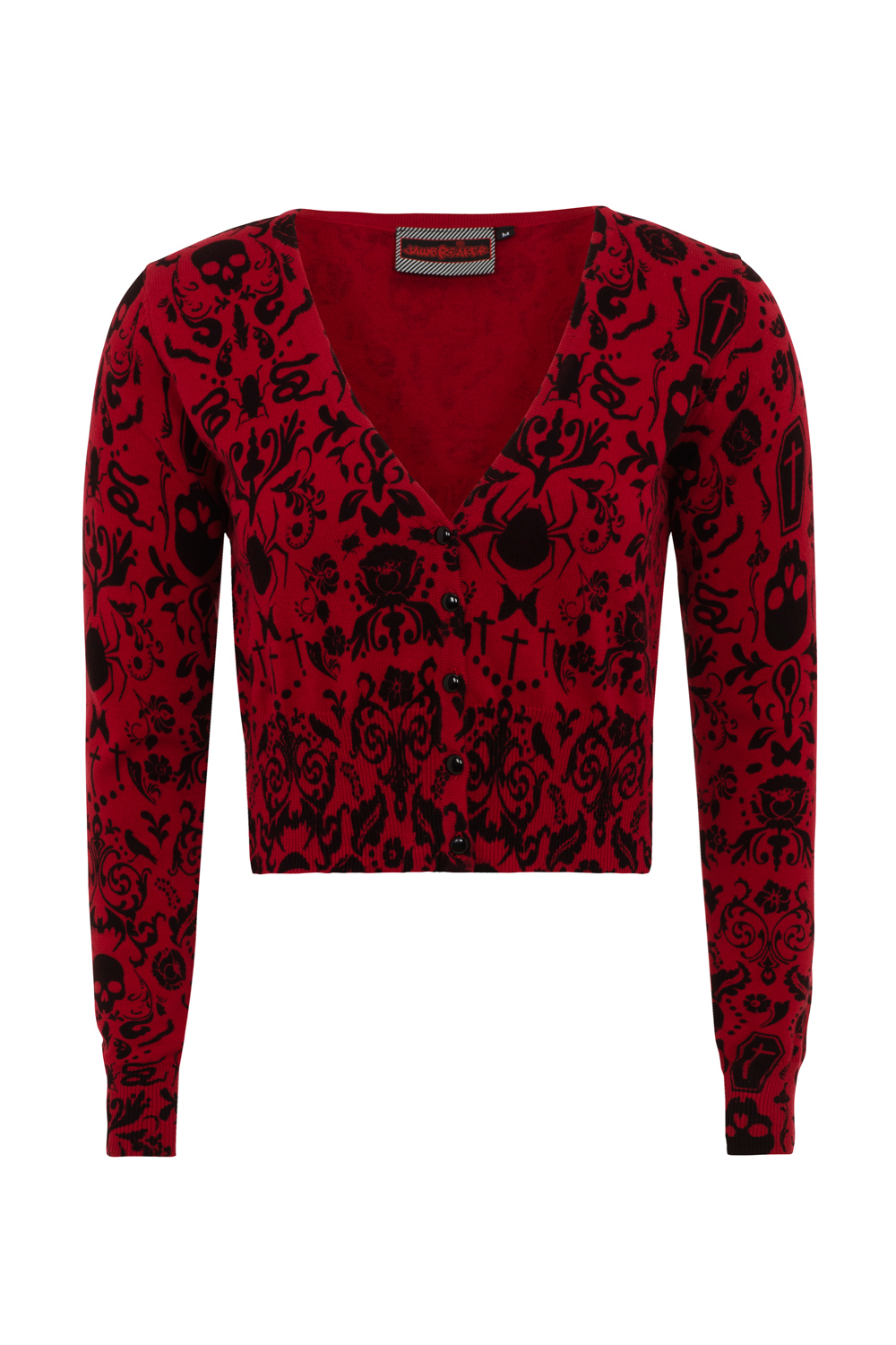 Skull Stamp Red Cropped Cardigan