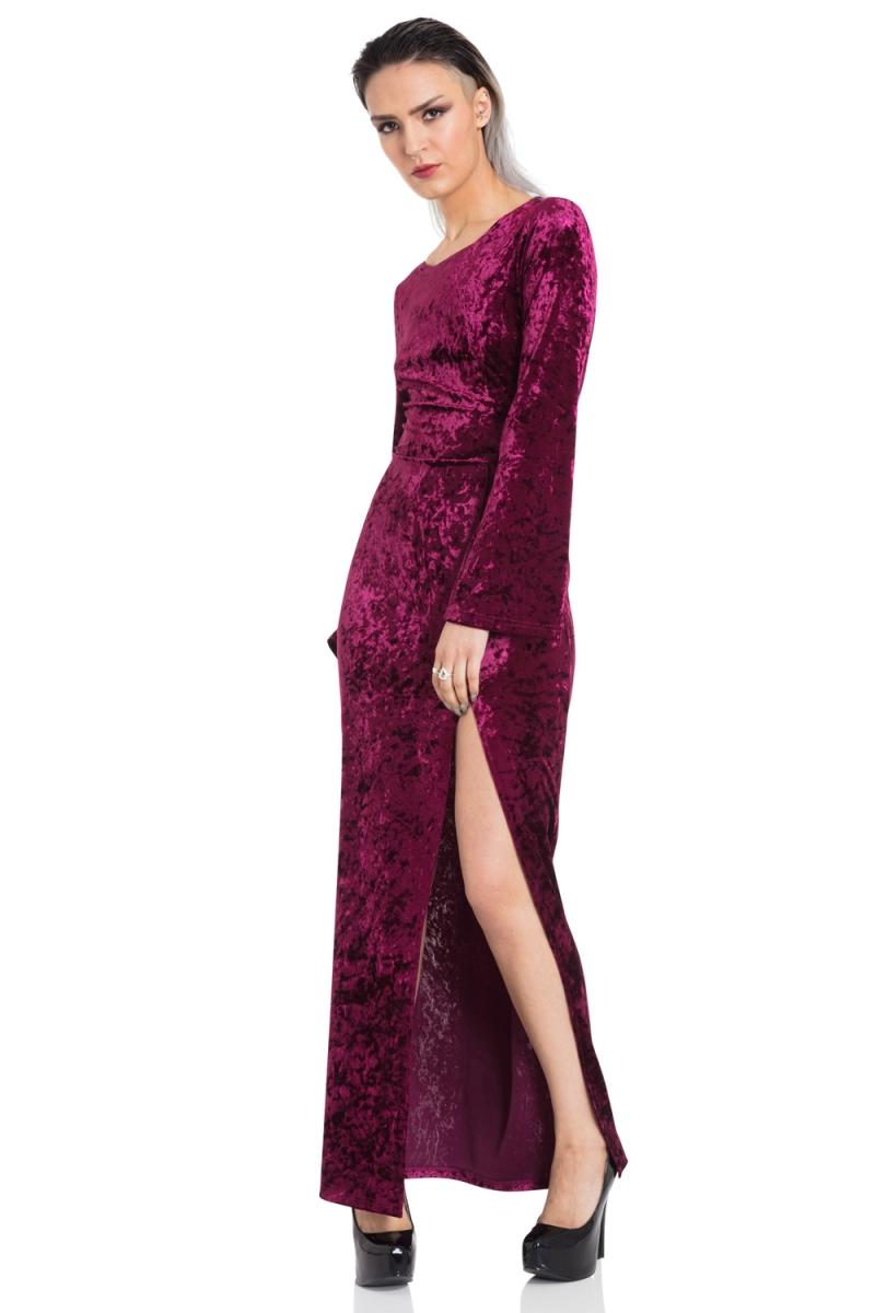 5b39b851b89ccc Long Crushed Velvet Dress | Alternative Clothing Store for Gothic ...