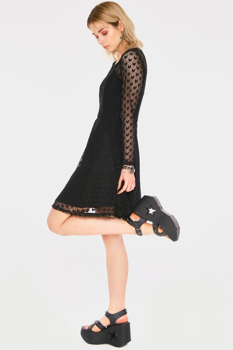 JAWBREAKER BRANCH /& CROW DOUBLE LAYER DRESS S M L XL BLACK WHITE GOTH ROCK METAL