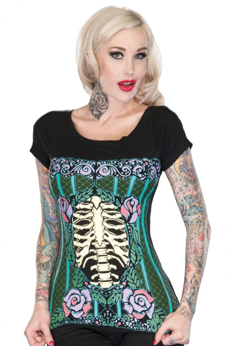 Jawbreaker Punk Goth Rib Cage Ladies Skinny Fit T-Shirt Damenmode