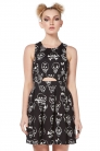 Vertex Cut Out Skull Doodle Black Dress