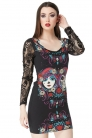Two-Face Mexican Dress with Lace Sleeves