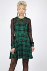 Round In Circles Plaid Overall Dress