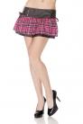 Pleather Waisted Tartan Mini Skirt Pink