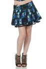 Blue Skull Ruffle Skirt