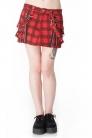Red Tartan Skull Skirt with Suspenders