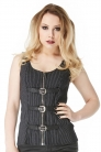 Crave Pinstripe Belted Top