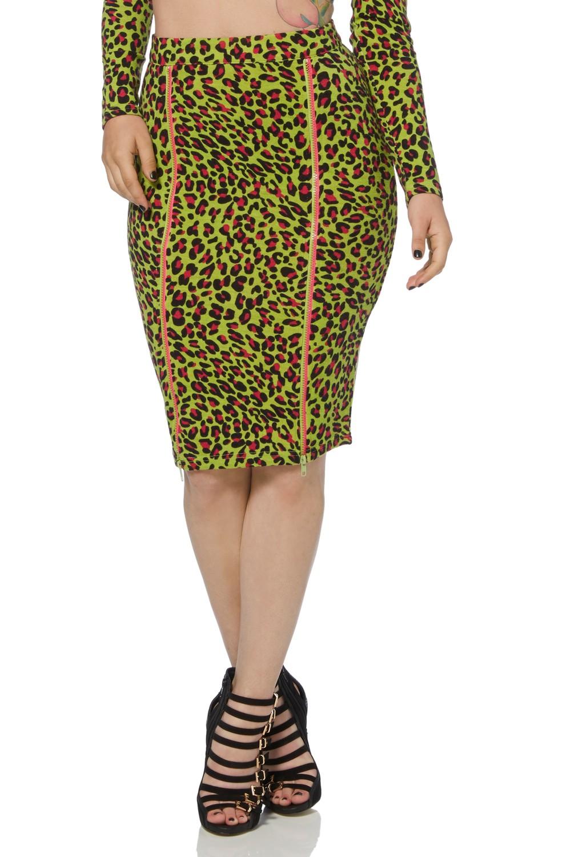 neon leopard midi skirt