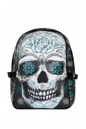 Blue Floral Skull Backpack