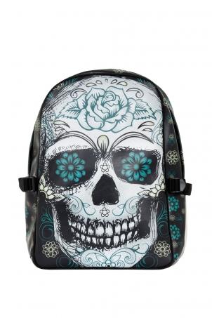 Blue Floral Skull Backpack