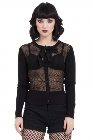Web Lace Cardigan With Chiffon Tie
