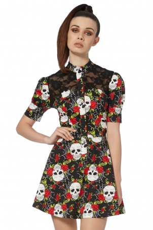Skull Web Shirt Dress