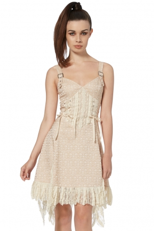 Victoriana Beige Lace Dress