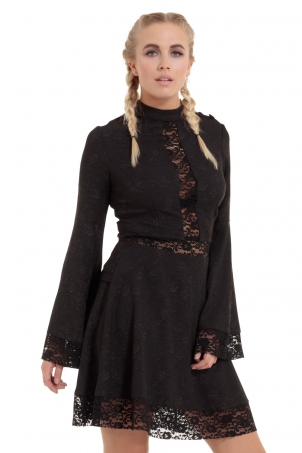 Bell Sleeve Flare Lace Up Back Dress