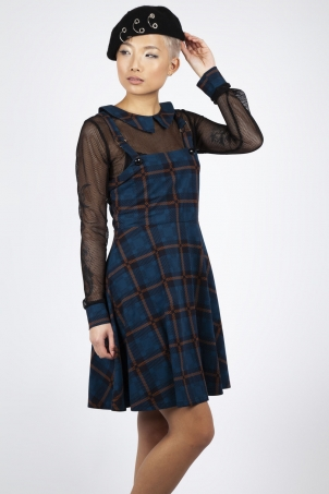 Get Fluid Plaid Overall Dress
