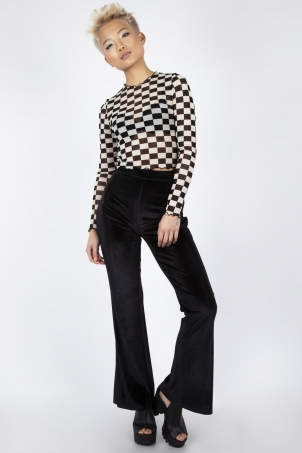 Glam Rock Black Velvet Flares