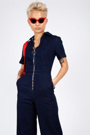 No Heart Denim Jumpsuit