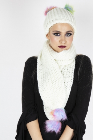 Rainbow Pom Pom Scarf & Hat Set In Cream