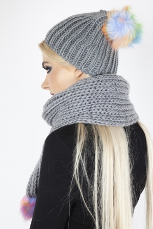 Rainbow Pom Pom Scarf & Hat Set In Grey