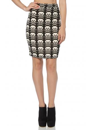 Skull Knit Midi Skirt
