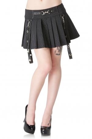 Insanity Plea Pinstripe Pleated Skirt