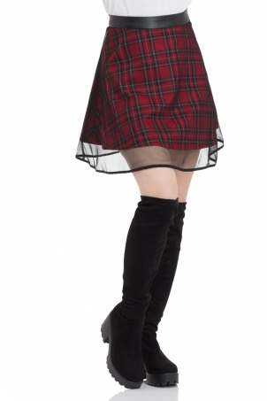 Tartan Two Layer Mesh Skirt