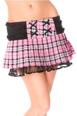 Lace-Up Tartan Mini Skirt Pink