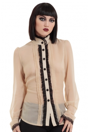 Ruffled Sheer High Neck Beige Shirt