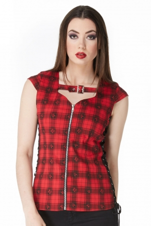 Plaid Me Up Front Zip Top