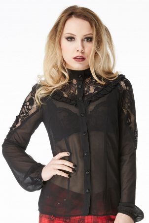 Eskelletor High Neck Sheer Blouse