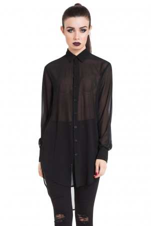 Black Chiffon Boyfriend Shirt
