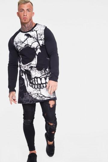 Big Skull with Raven Long Sleeve Sweatshirt
