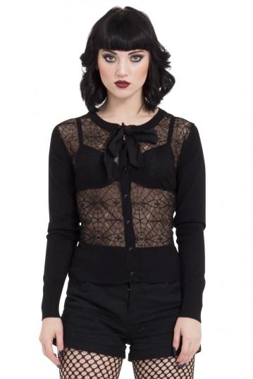 Web Lace Cardigan With Chiffon Tie