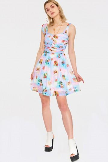 Cherub Cat Print Chiffon Skater Dress