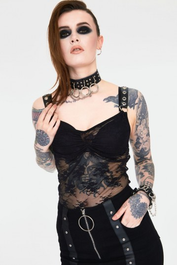 Contraband Sheer Black Lace Strap Top