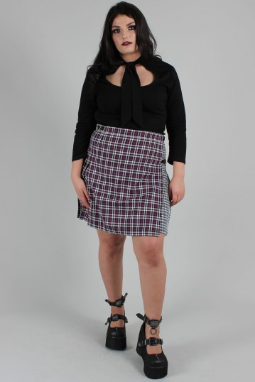 Contrast Check Buckled Mini-Kilt