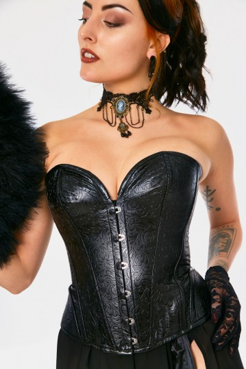Black Faux Leather Patterned Corset
