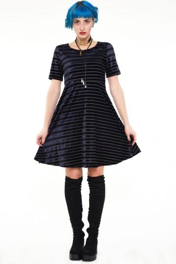 Black velvet stripe dress