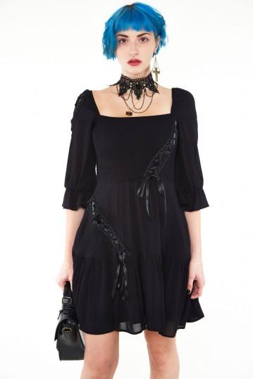 Smocked flare dress with satin ribbon detailing