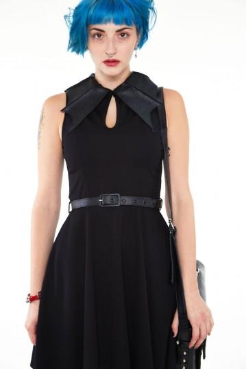 Bat collar knit flare dress
