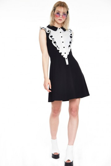 Button down knit dress with rose embroidered on ruffle