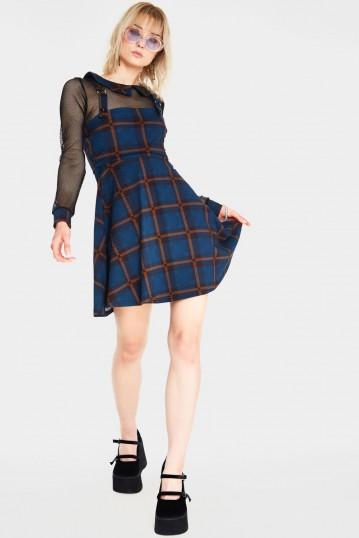 Get Fluid Plaid Overall Dress