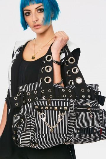 Handcuffs White Striped Bag