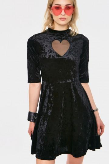 Heartless Black Velvet Dress