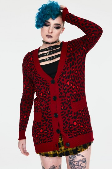 Maneater Red Leopard Print Oversized Cardigan