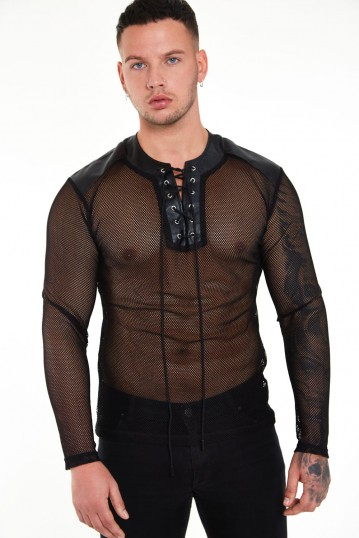 Fishnet Top With Leather Contrast