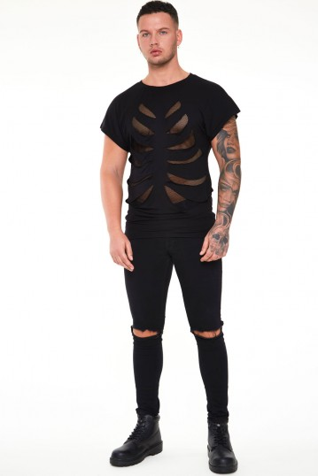 Black Loose T-shirt With Net Rib Cage