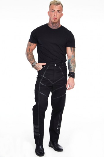 Black Trouser with Leather Contrast