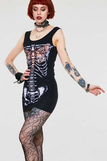 My Wings Beat for You Skeleton Bodycon Dress